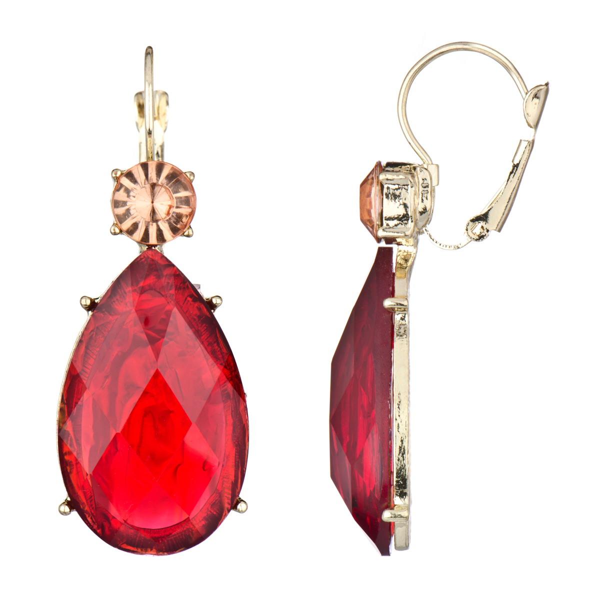 red earrings rinau0027s fancy pear drop earrings - red stone jchjslp