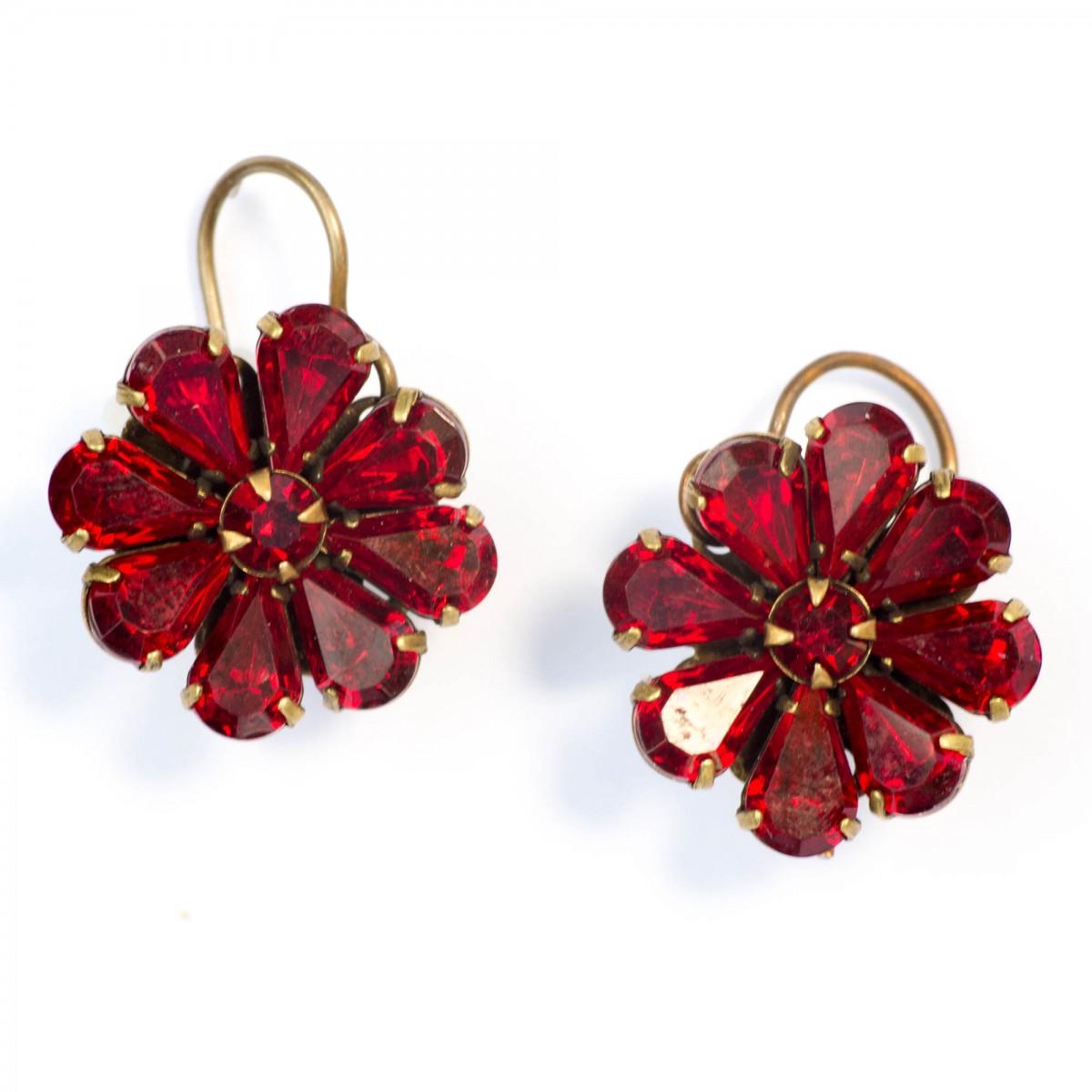 red earrings saint vintage holiday red crystal flower love drops earrings tbyrmmv