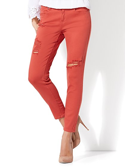 red jeans for women soho jeans - destroyed ankle legging - red spice - new york u0026 company ... qlvbdbp