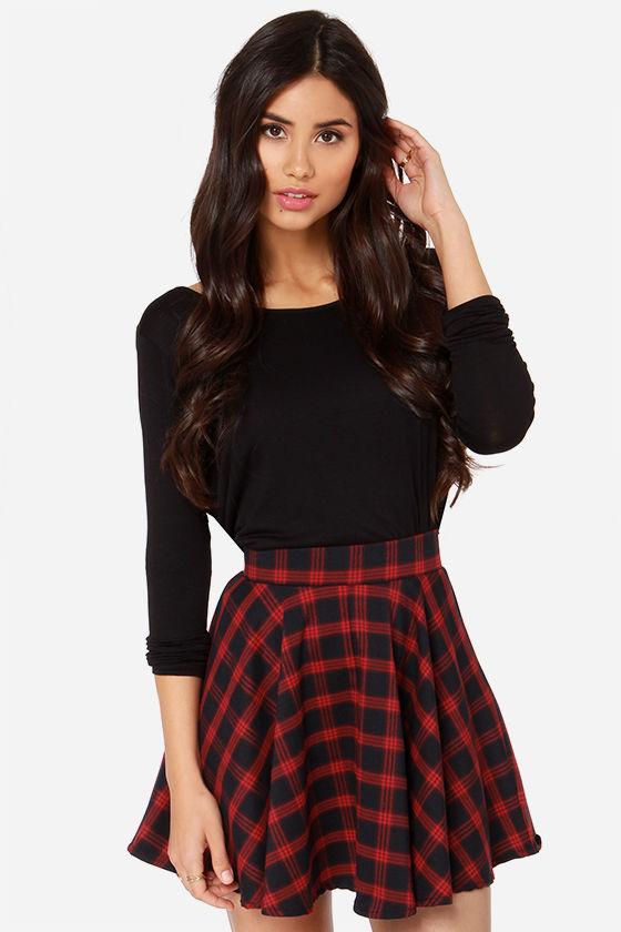 red plaid skirt red skirt - plaid skirt - mini skirt - high-waisted skirt - $47.00 nuqorci