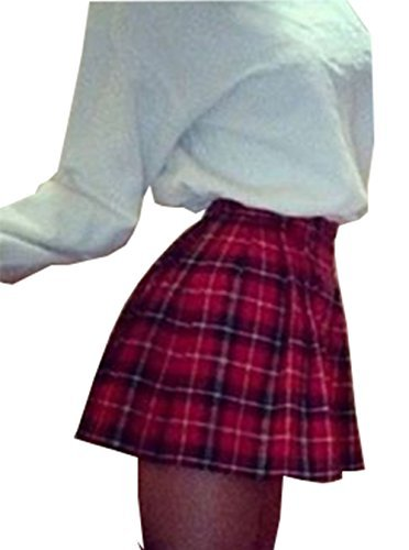 red plaid skirt women high waist skater flared red check plaid pleated short mini skirt (us  4, yozcfkh