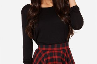 red skirt - plaid skirt - mini skirt - high-waisted skirt - $47.00 oaqqzoe