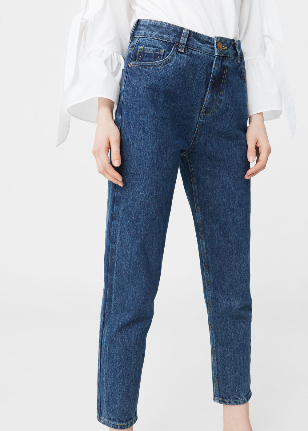 relaxed cropped mom jeans | mango emkeadw