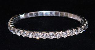 rhinestone bracelets #11950 single row stretch rhinestone bracelet - clear crystal silver rgdptii