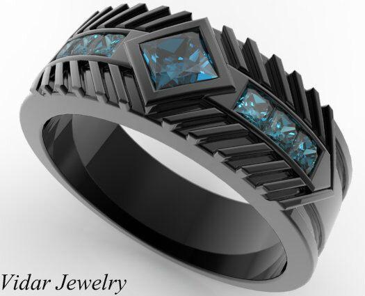 rings for men menu0027s wedding band 14k black gold princess cut blue diamond,unique wedding  ring,mens wedding band,princess errrnly