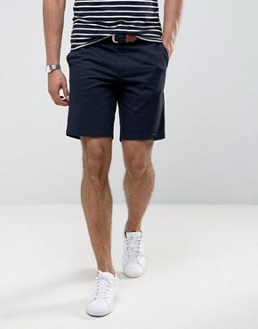 river island slim fit chino shorts in navy xzkngar
