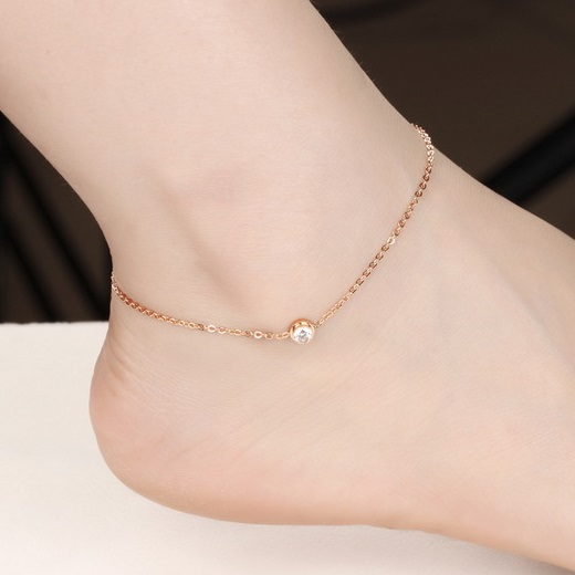 rose gold anklet lovely girl crystal anklet bracelet foot chain, plated rose gold anklets  for women foot kspndzg