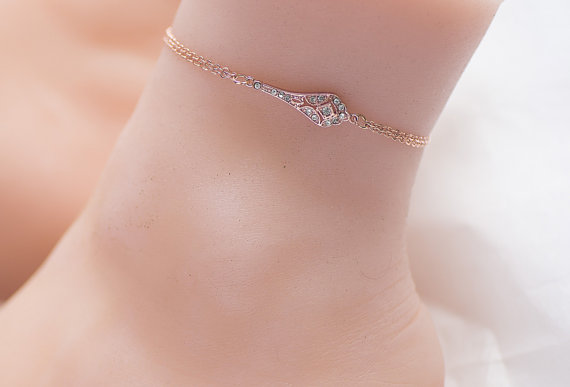 rose gold anklet -silver anklet-beach jewelry- gold ankle bracelet - rose  gold ankle bracelet ywxeuja
