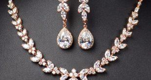 rose gold bridal bridesmaid jewelry set .long earrings seygoxx