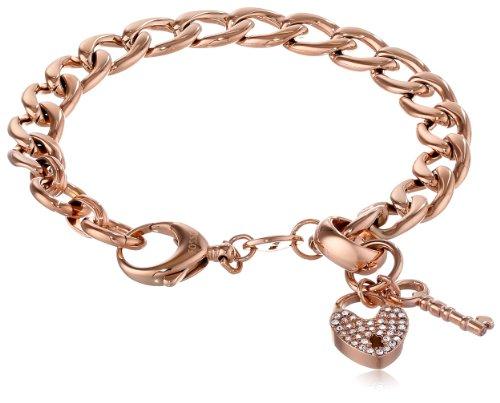 rose gold charm bracelet fossil rose gold-tone charm starter bracelet jwgtzmz