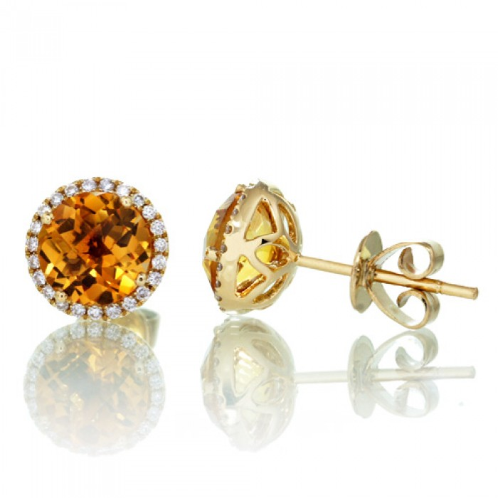 round citrine earrings diamond halo stud 6.5mm ecdxrpv