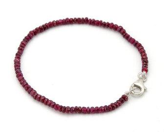 ruby bracelet . 4 mm. natural red ruby bead bracelet 925 silver/14k gold gnldylw