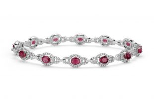 ruby bracelet ruby and diamond halo bracelet in 14k white gold (5x4mm) khurblt