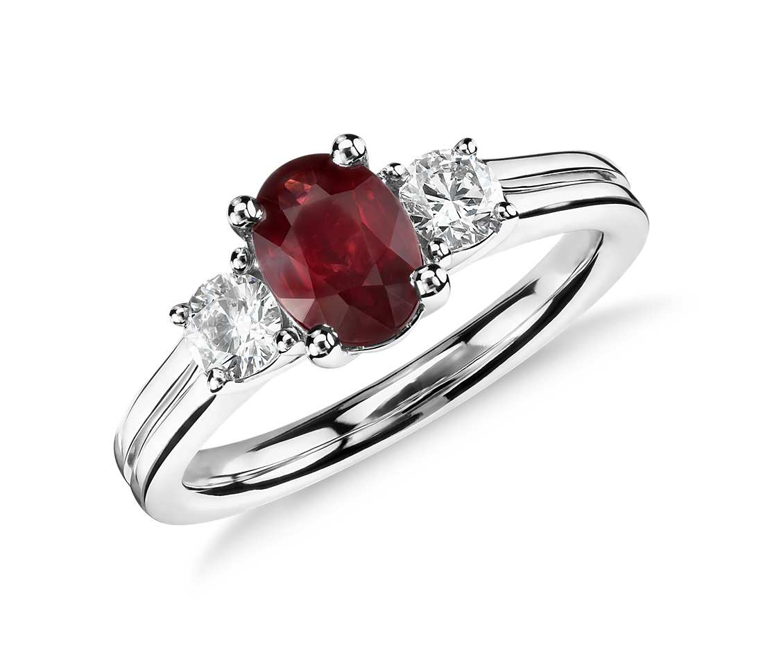 ruby engagement rings ruby and diamond ring in 18k white gold (7x5mm) szoljta