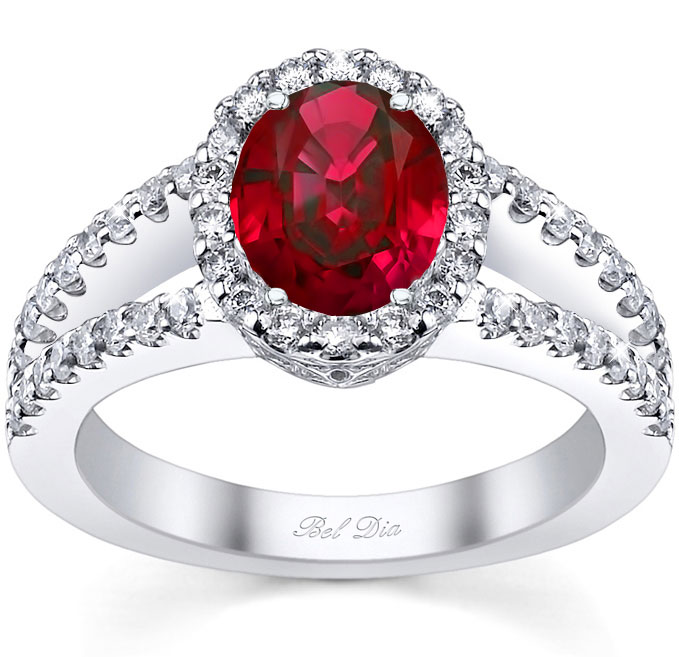 ruby engagement rings split shank oval ruby halo engagement ring nexcpah