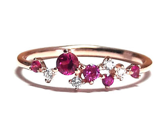 ruby ring-gold ring-diamond ring-rose gold ring-925k silver zirconia adioeot