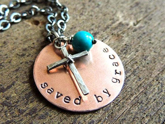 saved by grace necklace - christian jewelry - cross necklace - bible verse  jewelry zhcfnye