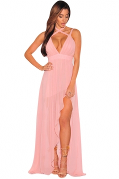 sexy maxi dresses womens v neck backless side slit plain maxi dress pink whrtfbo