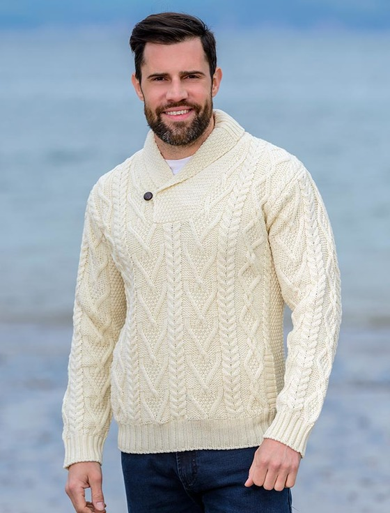 shawl collar sweater - one button fisherman sweater - natural white ojvbbfr