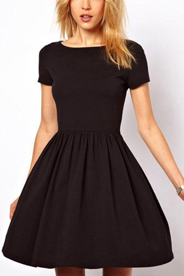 short sleeve dresses black pleated short sleeve casual dress @ casual dresses,women casual  dresses,cheap casual dresses,cute casual wnnupqs