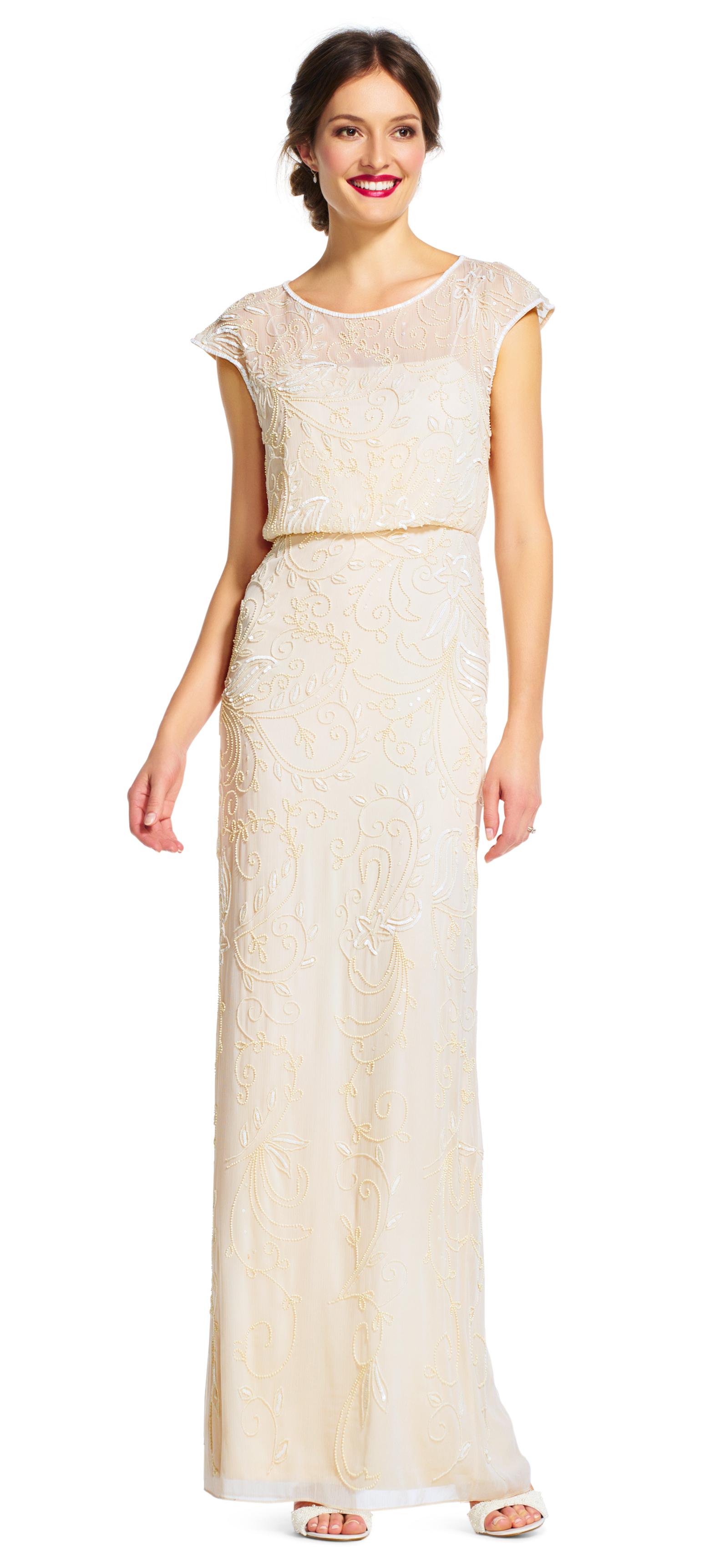 short sleeve dresses cap sleeve beaded blouson dress with sheer neckline zzhjwuv