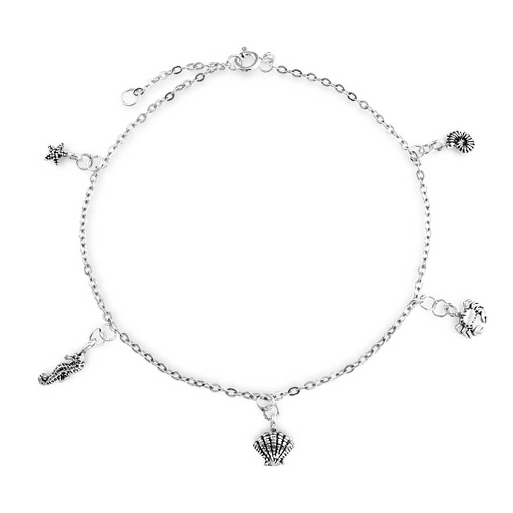 Silver anklets for Charm nautical sea life charm sterling silver anklet 9.5 inch tlaejln