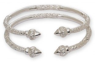 silver bangles amazon.com: ridged arrow .925 sterling silver west indian bangles (pair  67g) (made in usa): tzfoikc
