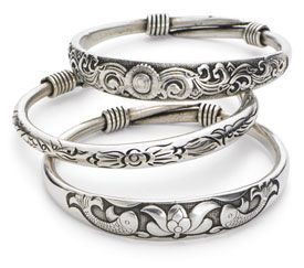 silver bangles silvery bangles - koi with lotus pcqjqie