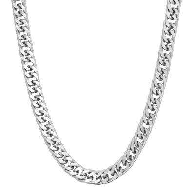 silver chain necklace menu0027s sterling silver curb chain necklace - 24 ... larfrsq