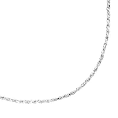 silver chain necklace sterling silver textured rope chain necklace - 20-in. opsqhgv