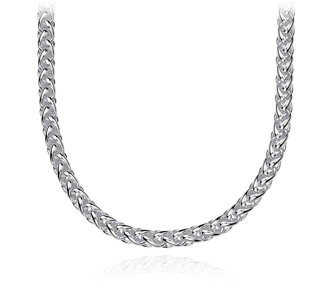 silver chain necklace wheat chain necklace in sterling silver eymzwph