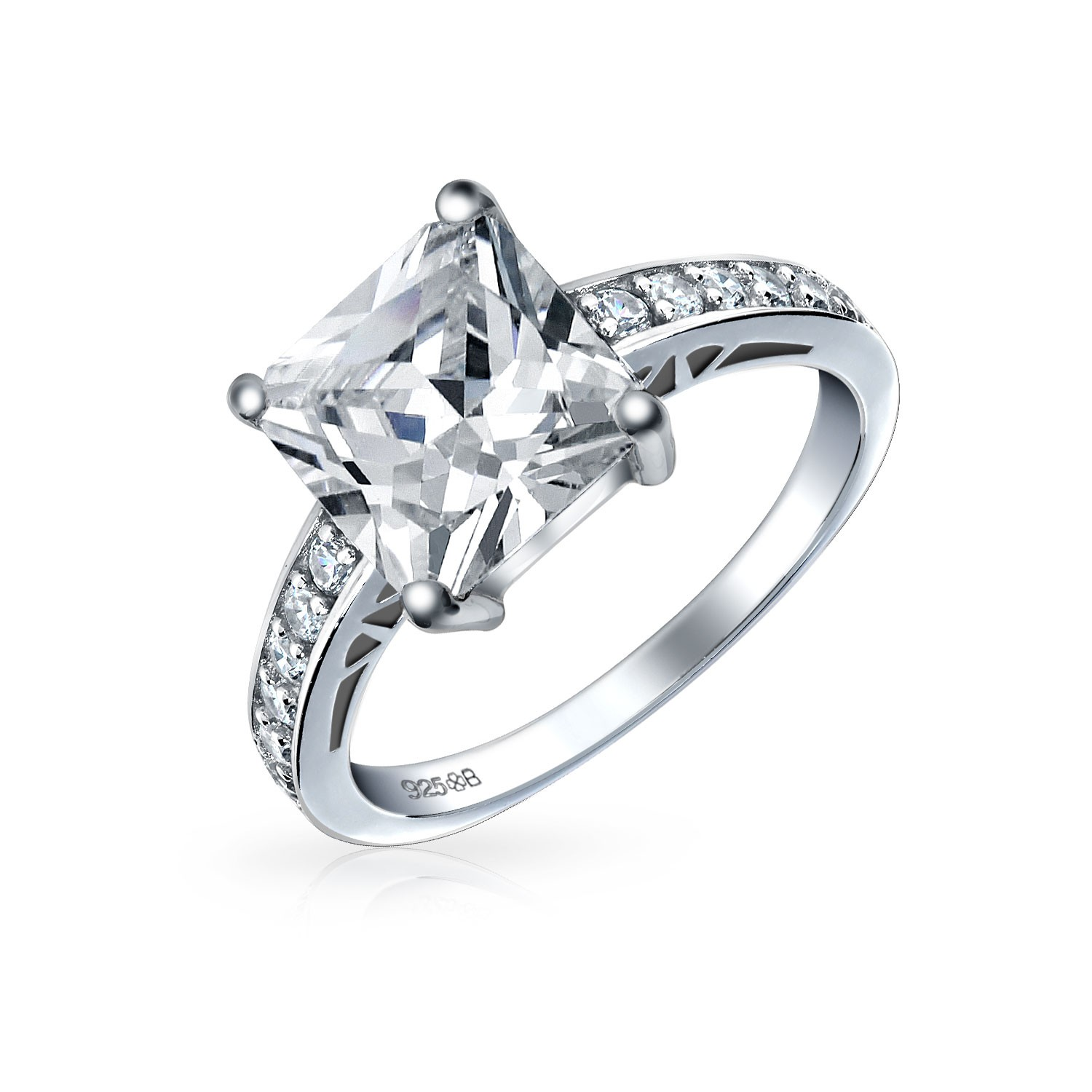 silver engagement rings bling jewelry sterling silver 2.9 ct princess cut cz engagement ring fgvztti