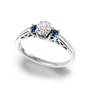 silver engagement rings cambridge sterling silver 1/3ct tdw diamond and sapphire ring - free  shipping today - fvrgyea