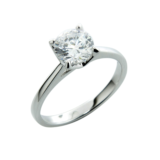 silver engagement rings sterling silver solitaire simulated diamond engagement rings: round fzcrimg