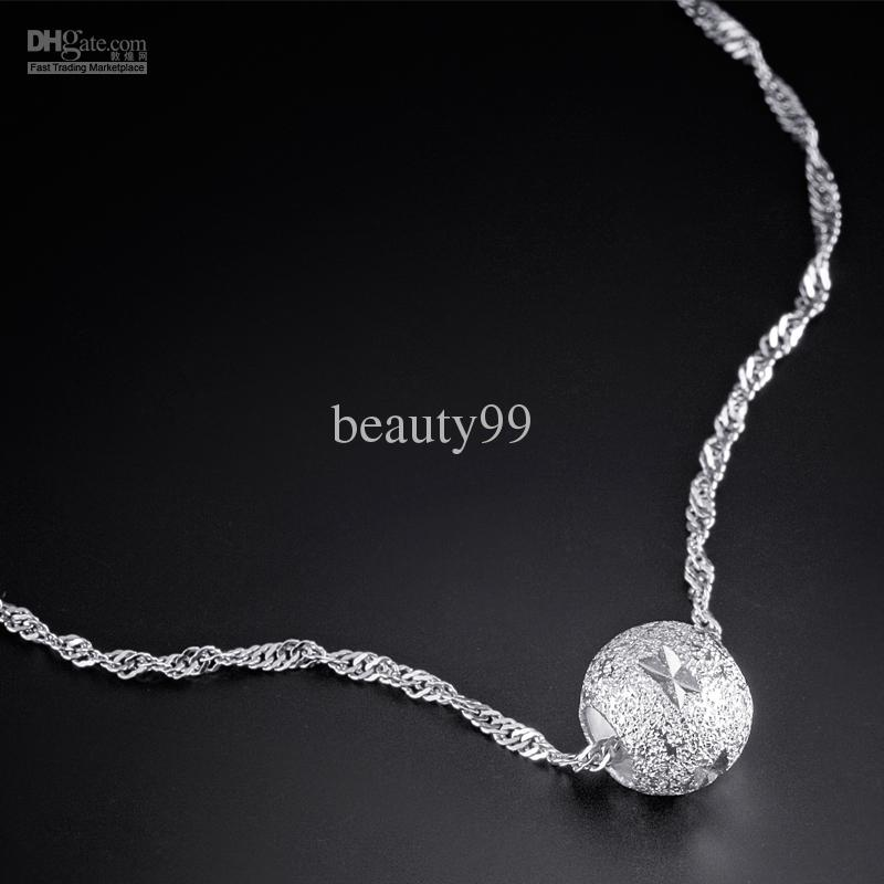 silver necklaces for women 2013 womenu0027s sterling silver beaded necklace chic figuratus necklaces  0.75cm long bead charm popular ftebyxs