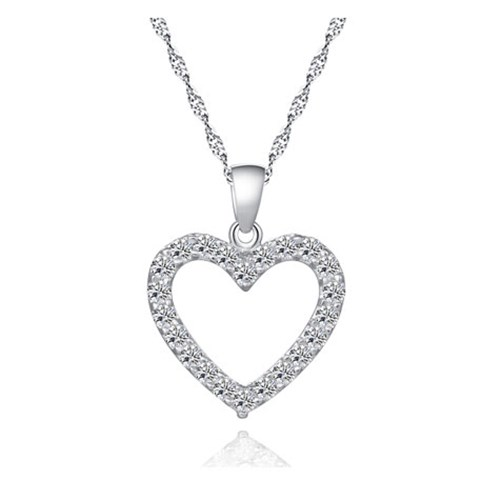 silver necklaces for women womenu0027s love heart sterling silver cz pendant necklace fahocxm
