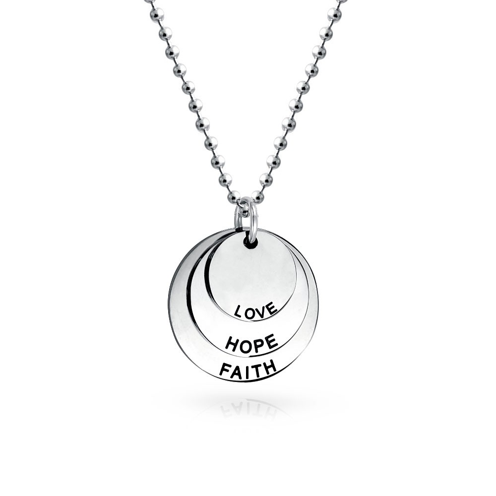 silver pendant necklace bling jewelry faith hope love faith stainless steel disc pendant necklace  18in wmtagho