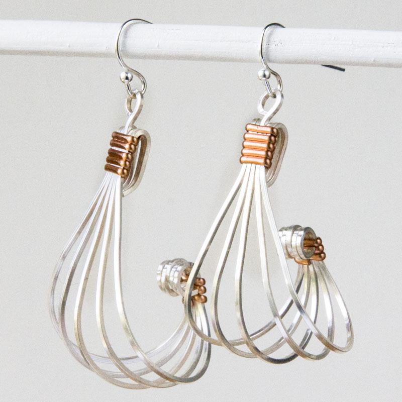 silver square wire and copper half round wire earrings fllygue