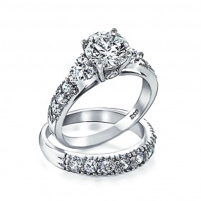 silver wedding rings ... bling jewelry 925 silver clear cz heart side stones wedding engagement  ring set gxqhgkv