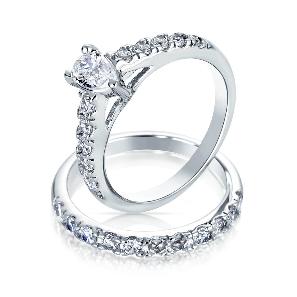 silver wedding rings bling jewelry pear shaped cz sterling silver engagement wedding ring set edfmmgn