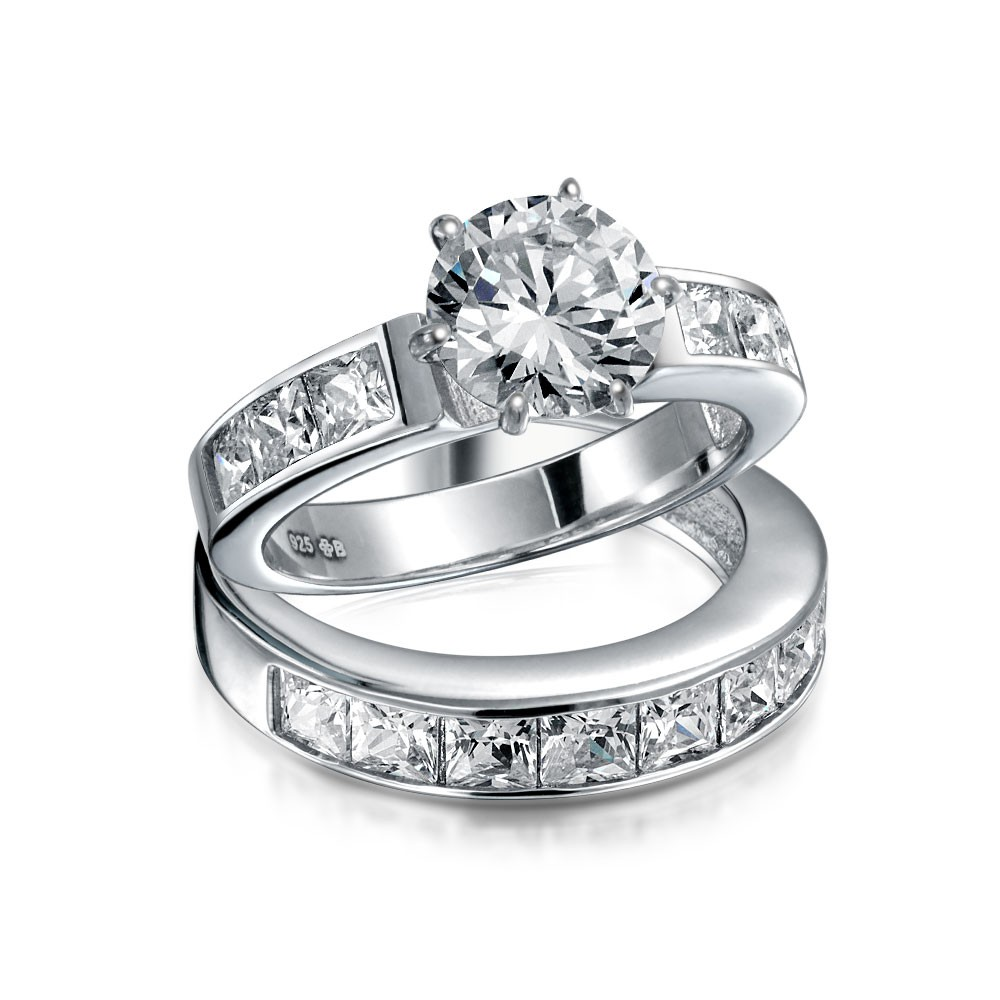 silver wedding rings bling jewelry sterling silver 2ct round cz princess engagement wedding ring  set ojacsnh