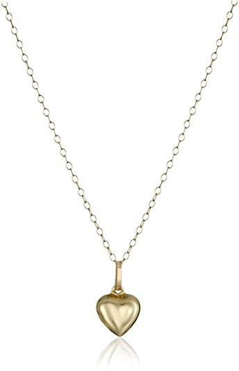 small pendant necklace 14k yellow gold small puffed heart pendant necklace, 15 jaemcnx