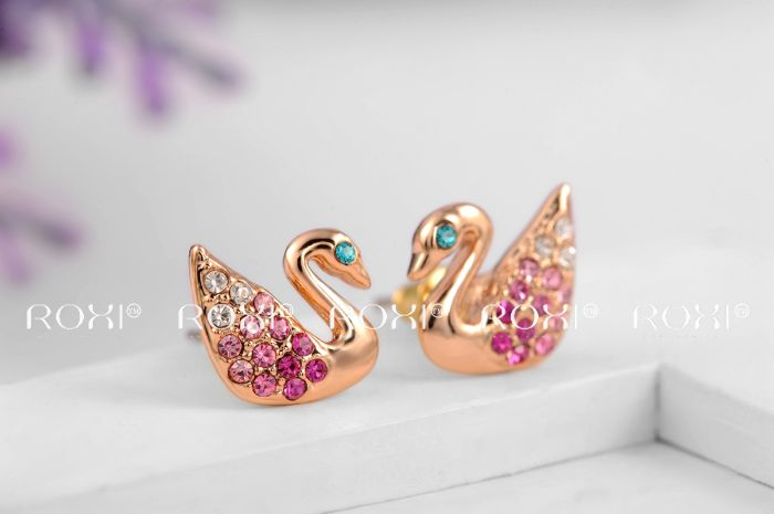 smart cute rose gold swan cheap stud earrings for girls jewelry set hcngkgj