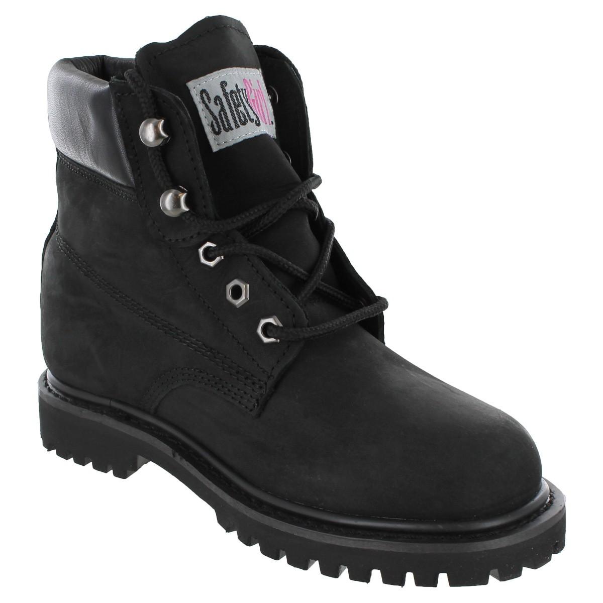 steel toe shoes for women safety girl ii steel toe work boots - black skobver