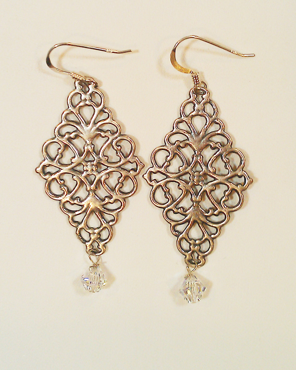 sterling silver diamond filigree earrings owntjxf