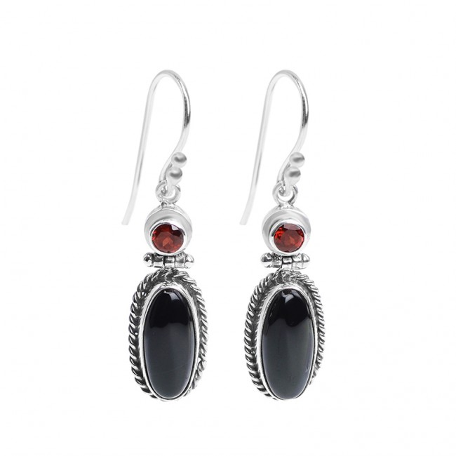 sterling silver garnet black onyx earrings ojonxcs