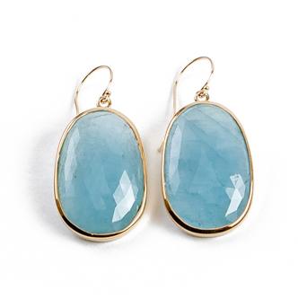 stone jewelry 14k yellow gold | aquamarine slice earrings wlxascv