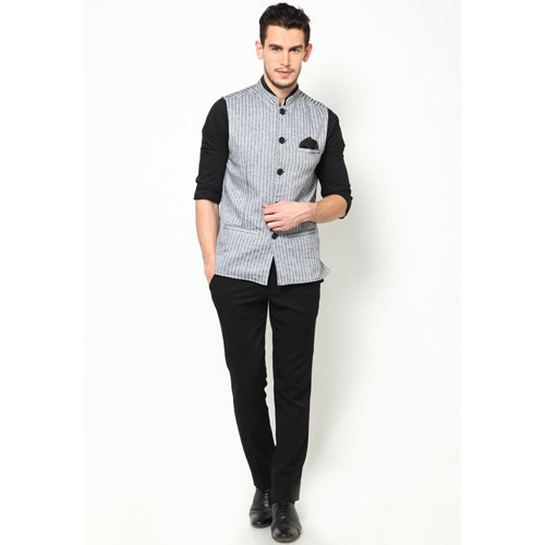 striped grey nehru jacket kotakfs