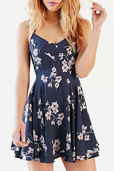 summer dress fashionable spaghetti strap backless cut out print dress for women qxoykzu