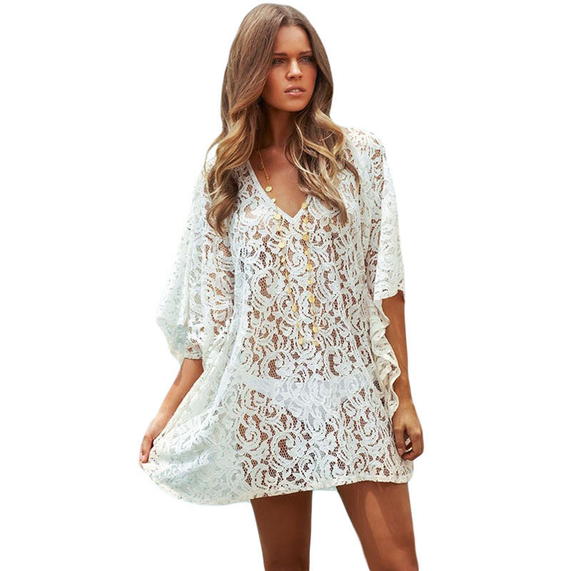 summer style swimsuit coverups womens sexy white lace kaftan beach wrap  dress bikini cover cnfjdok